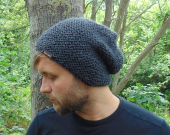 80ac08be335 Gray Slouchy Beanie Alpaca Knit Winter Warm Hat Men s Cap Hat for Boys  Alpaca Wool Grey Hat Mens Winter Beanie Teenager Gift Idea
