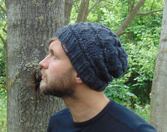 Men Gray Alpaca Knit Winter Hat Slouchy Beanie Wool Winter Hat Handmade  Charcoal Boy Hat Gift for Teenager Unique Luxury Hats Men s Headwear 37b86f5e747d