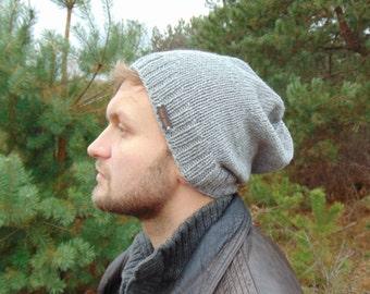 deb87ef93c0 Grey Slouchy Beanie Alpaca Knit Winter Warm Hat Men s Cap Hat for Boys  Alpaca Wool Gray Hat Mens Winter Beanie Teenager Gift Idea