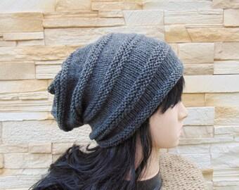 0181be9b Grey Alpaca Wool Slouch Hat Woman Dark Grey Slouchy Beanie Teenager Chunky Beanie  Knit Hat Womens Cap Slouch Hat Winter Baggy Hat Teen Girls