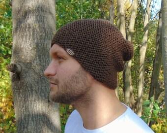 7564a9f85ca Brown Slouchy Beanie Alpaca Knit Winter Warm Brown Hat Men s Cap Hat for  Boys Alpaca Wool Brown Hat Mens Winter Beanie Teenager Gift Idea