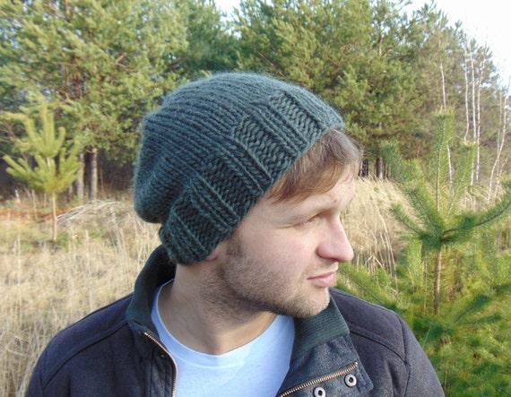 Green Mens Slouchy Beanie Khaki Hat Army Green Hat Knit Hat  5b25c2dcdab