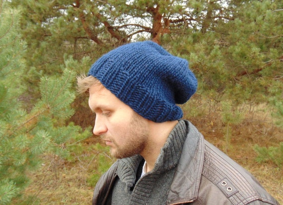 cc030dc2218 Winter Hat For Men Navy Blue Knit Mens Beanie Dark Blue Wool