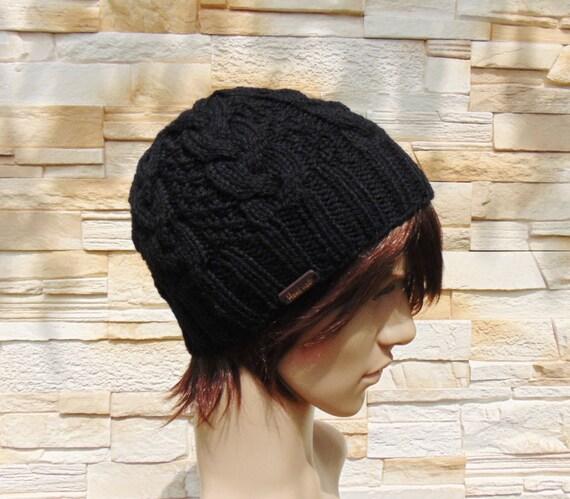 d1241ca68b5139 Alpaca Black Mens Hat Cable Knit Winter Cap Wool Hat Rib Hat | Etsy