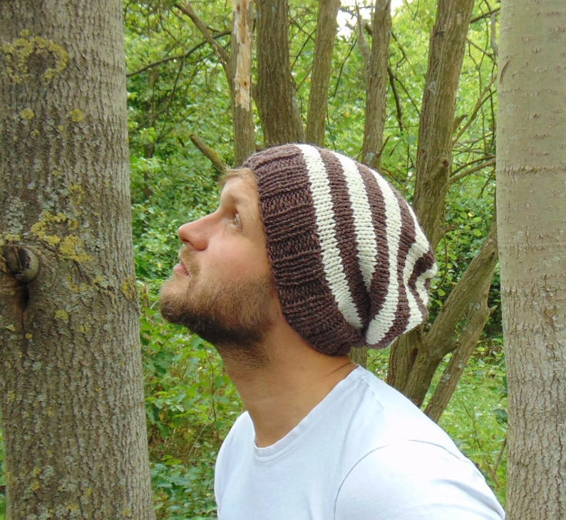 a48d68e65a8 Mens Brown and Ecru Striped Hat Winter Beanie for Men Boys Cap