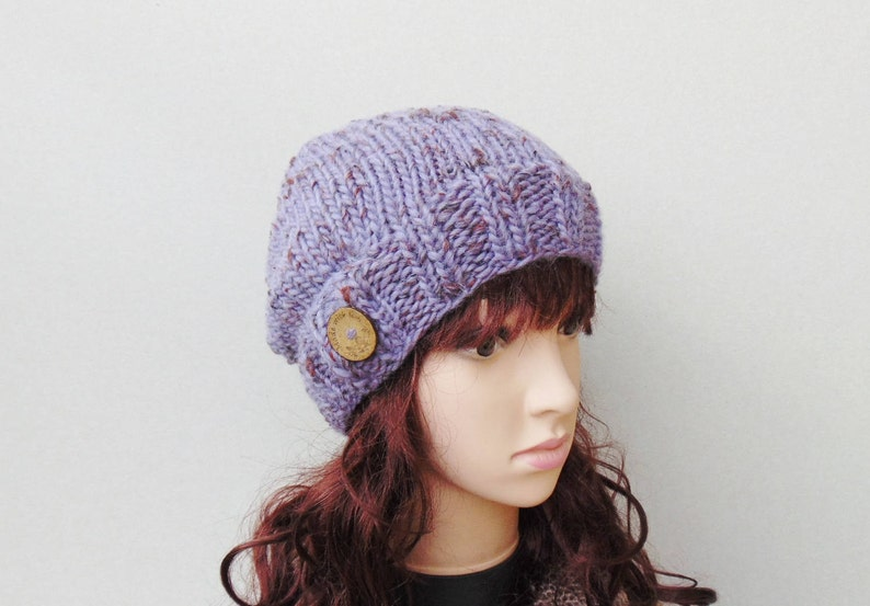 e352de8103b05 Tweed Lilac Slouchy Beanie With Button Wool Winter Warm Hat