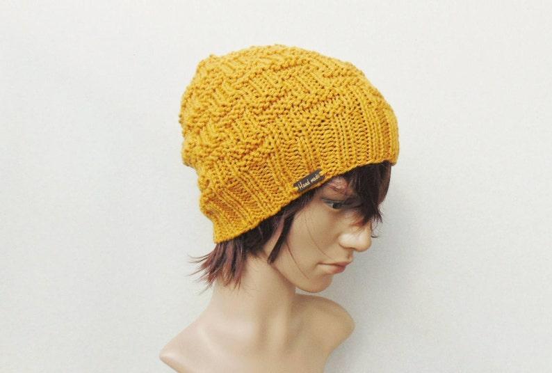 889a3fa5dd0 Mustard Knit Men Beanie Alpaca Men Hat Yellow Slouchy Beanie