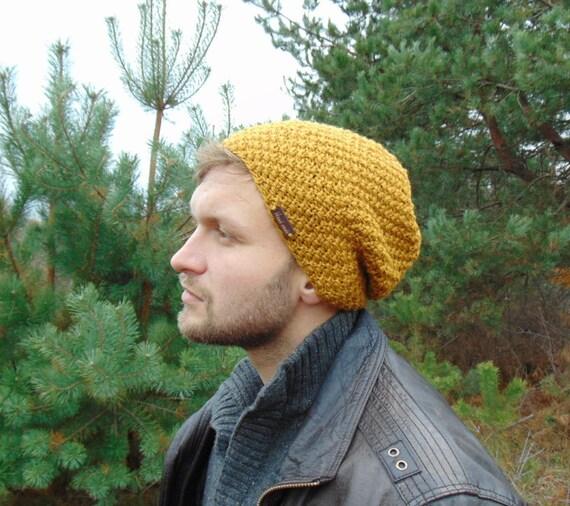 Senape gialla Mens cappelli mano cappello a maglia per uomo  3daab5d1ab9b