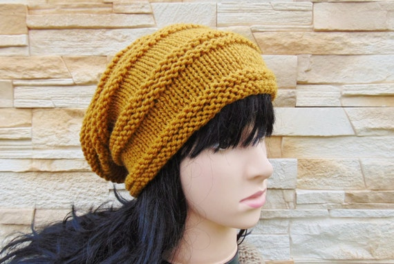3b3a623d97a Mustard Slouch Hat Yellow Slouchy Beanie Teenager Slouchy