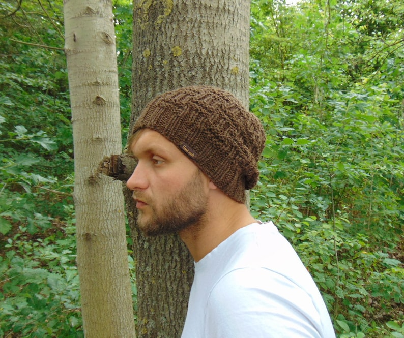 f403a32de50ca Brown Alpaca Men's Knit Hat Men Hat Brown Slouchy Beanie | Etsy
