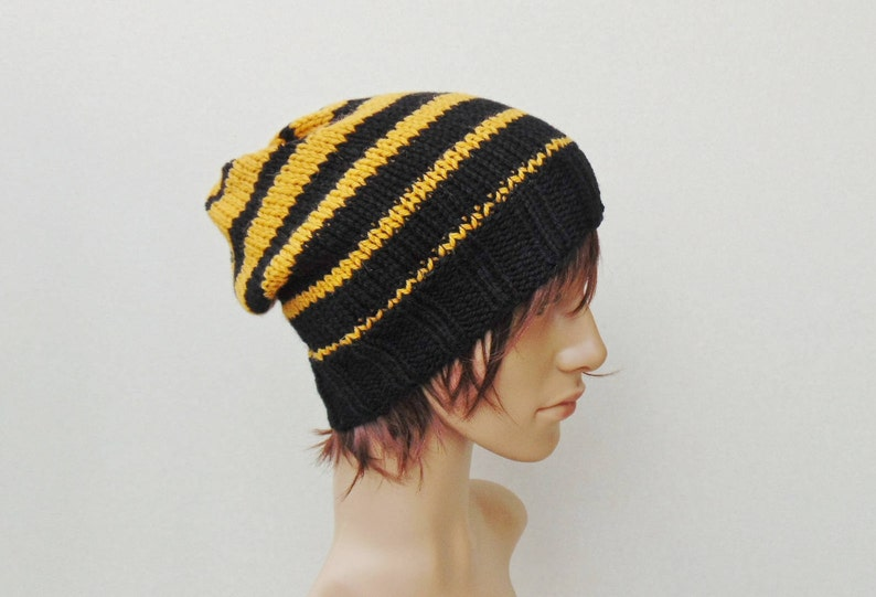 cfc393e9480 Mustard Black Men For Men Alpaca Striped Hat Winter Beanie for
