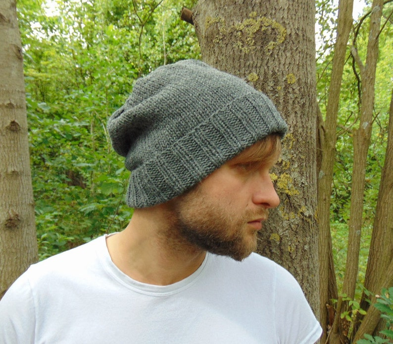 e71d8592c61 Gray Alpaca Wool Men s Slouchy Beanie Hand Knit Wool Hat