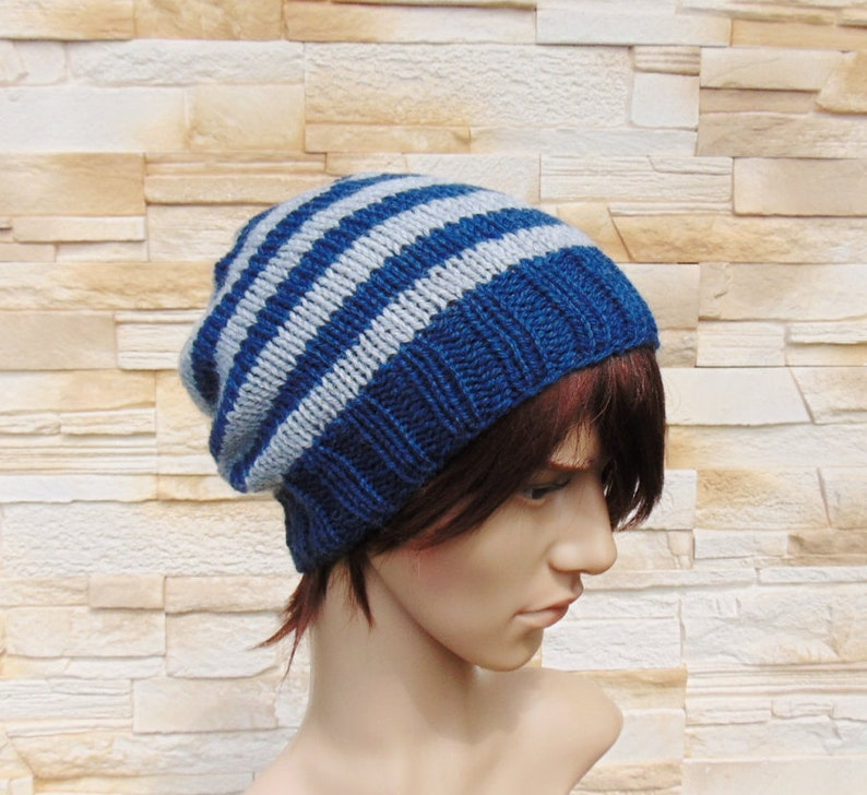 37e74d17dc1 Mens Light Grey and Dark Blue Striped Hat Winter Beanie for
