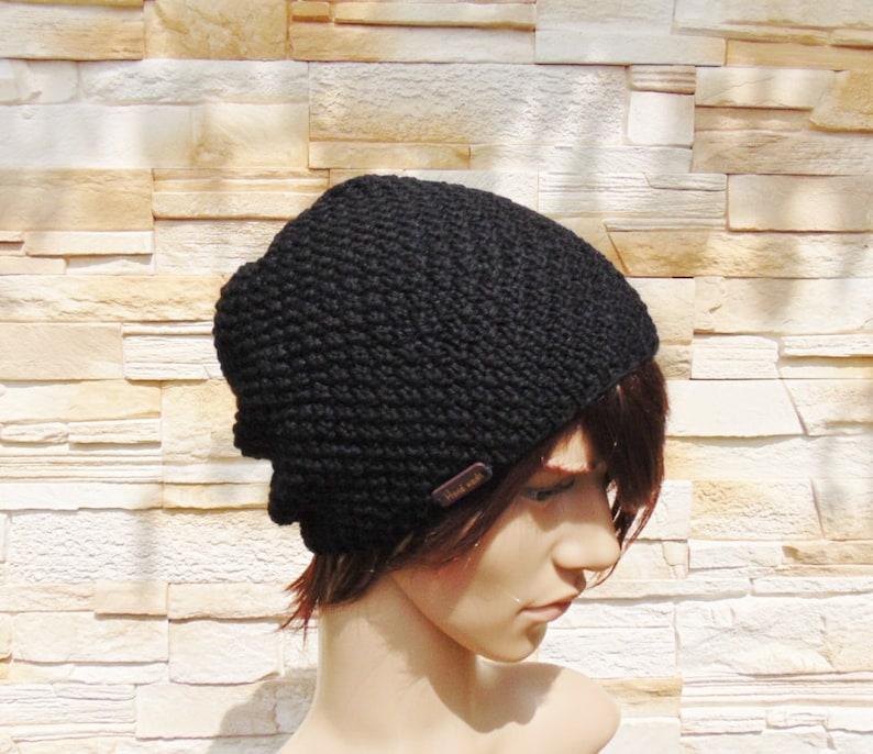 46b3c18e9cc Slouchy Black Alpaca Beanie Hand Knit Wool Warm Hat Men s