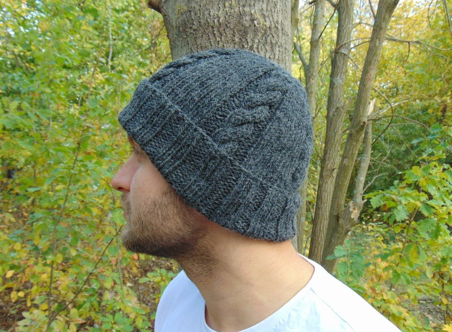 70726a835e3c6 Charcoal Alpaca Cable Beanie Gray Mens Wool Rib Hat Grey | Etsy