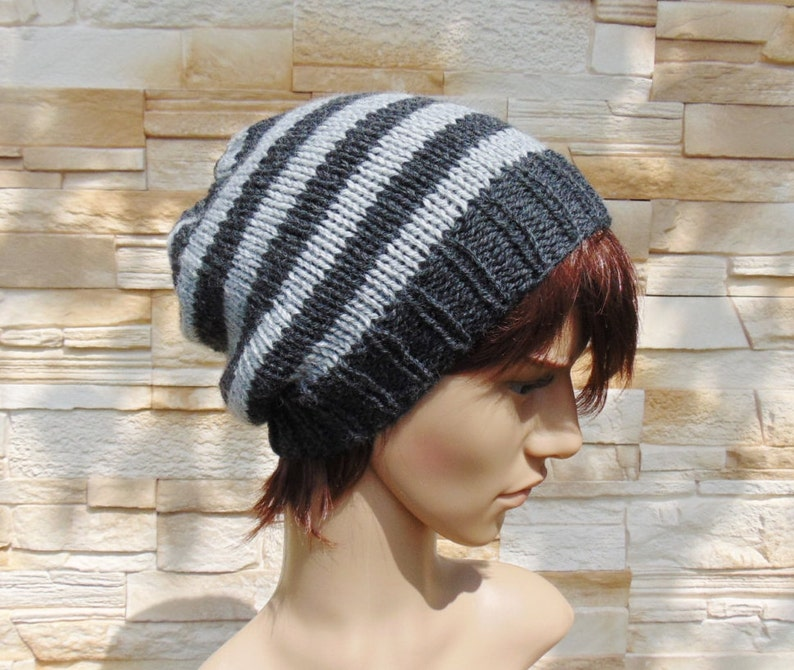 a045b30e1ad Mens Light Grey and Dark Grey Striped Hat Winter Beanie for