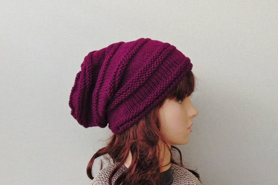 Burgundy Alpaca Wool Slouch Hat Woman Violet Slouchy Beanie  d8fbfe014d5