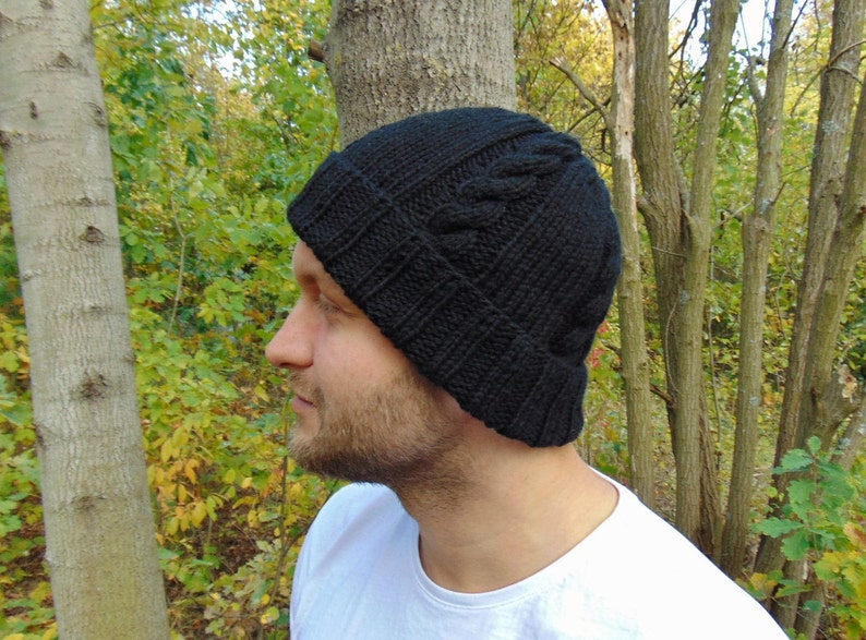 6e6c928fbb73f Black Alpaca Cable Beanie Black Mens Wool Rib Hat Black | Etsy