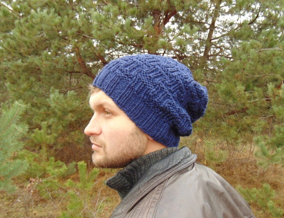 Men s Alpaca Hat Navy Blue Wool Beanie Knit Winter Warm  83a7eb07efc