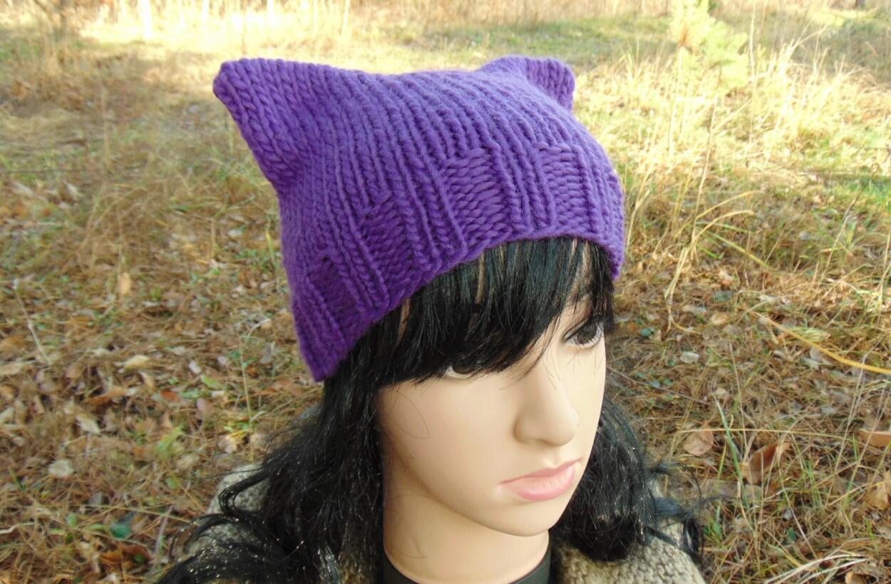 Punto de lana violeta gato orejas púrpura sombrero sombrero | Etsy