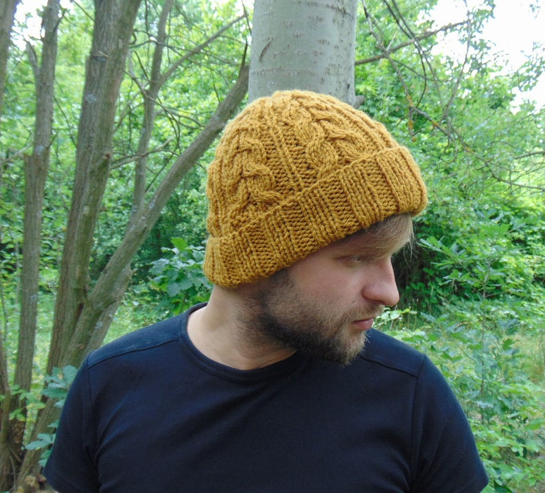 b092f580ffc Mustard Yellow Mens Wool Beanie Men s Hat Cable Knit
