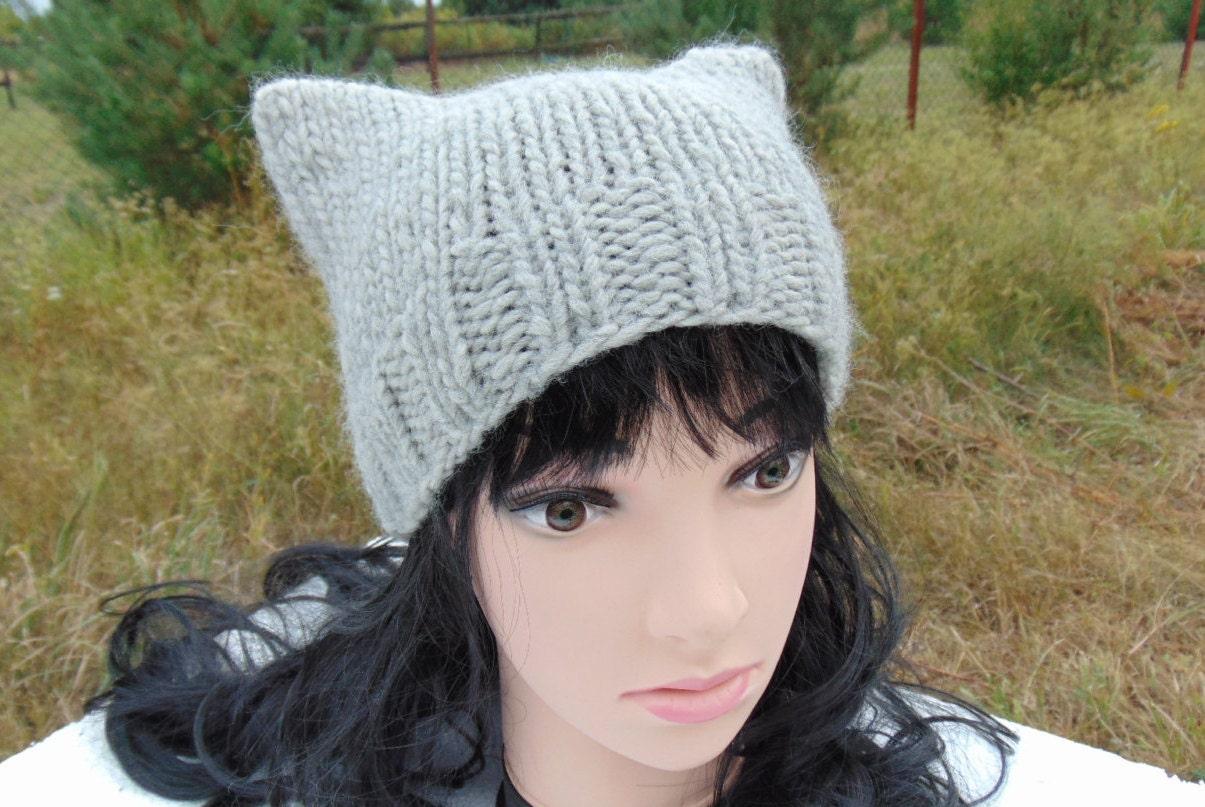 Orejas de gato gorro tejer tejer sombrero del oído de gato | Etsy