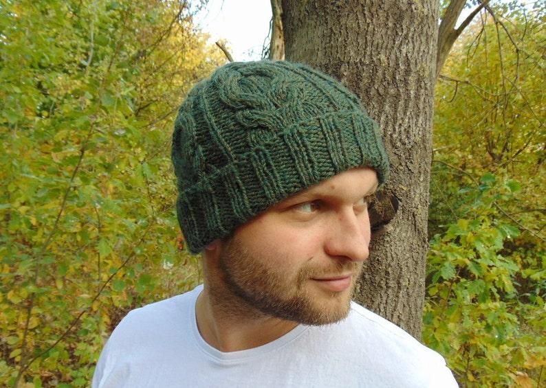 Green Alpaca Cable Beanie Green Mens Wool Rib Hat Men/'s Hat Cable Knit Winter Cap Wool Hat Rib Beanie Knit Skull Hat Warm Wool Hat Watchmen