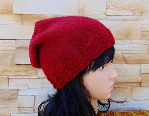 82e02f4b9ed92 SALE Red Wool Ladies Beanie Knit Hat Womens Cap Slouch