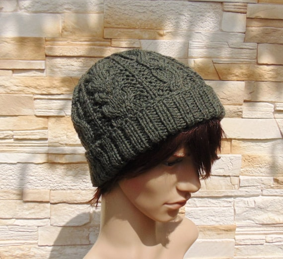 Olive Green Mens Wool Beanie Mens Hat Cable Knit Winter Cap  64978c6e725