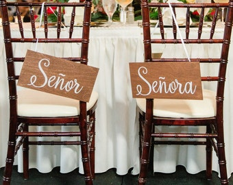 Wedding Chair Signs for the Mr. and Mrs., Bride and Groom Chair Signs
