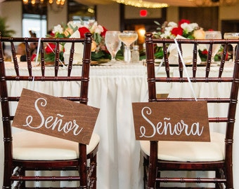 Mr & Mrs Chair Signs, Wedding Chair Signs to hang on the Bride and Grooms Chairs