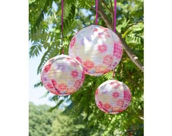 Floral Pattern Decorative Hanging Lanterns, Floral Print, Paper Lanterns, Wedding Lanterns