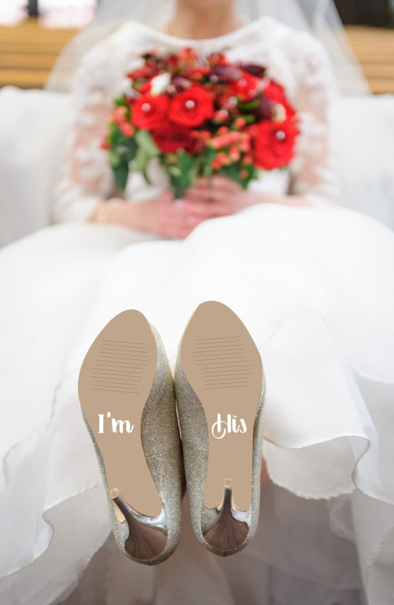Bridal Shower Gift for the Bride Wedding Shoe Decals that say image 0