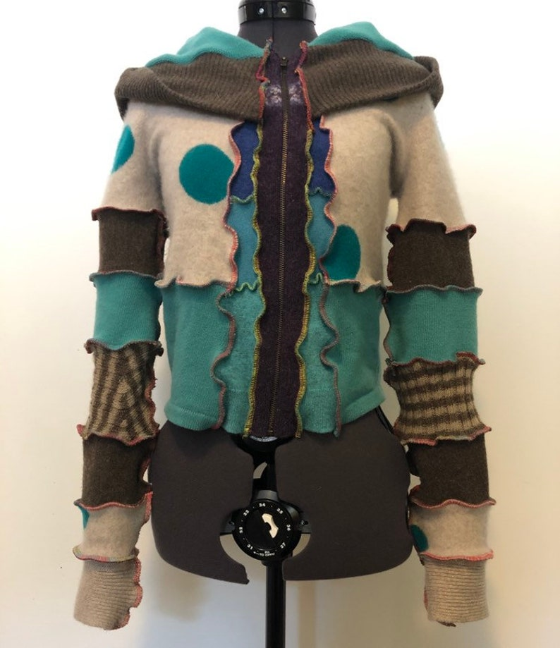 size small--upcycled recycled sweater  goodness! Katwise inspired hoodie