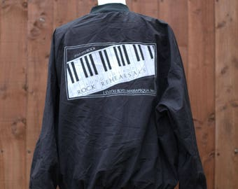 9f4d932f51a Black Bomber Jacket with Piano Print Back