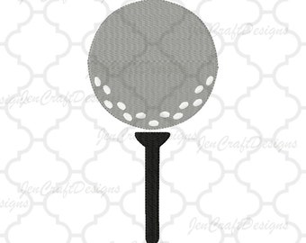 Golf Ball on Tee Embroidery Design, Instant Download digital file in PES, EXP, VIP, Hus, Xxx and Jef