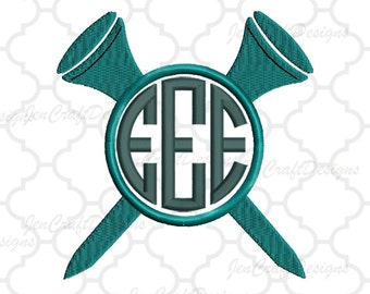 Double Golf Tee Embroidery Design Monogram Frame, Instant Download digital file in PES, EXP, VIP, Hus, Xxx and Jef