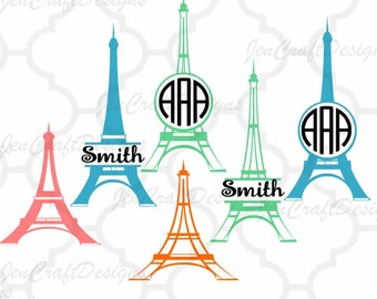 Paris SVG Eiffel Tower French France Wedding Honeymoon Monogram Frames Svg, DXF, EPS use Silhouette Studio & Cricut, Cutting Cut