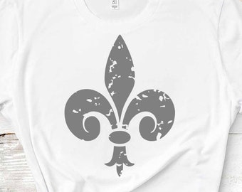 Distressed Le Fleur De Lis svg, Grunge Mardi Gras svg, New Orleans Louisiana, Fat Tuesday SVG, DXF, EPS shirt, Cricut Silhouette