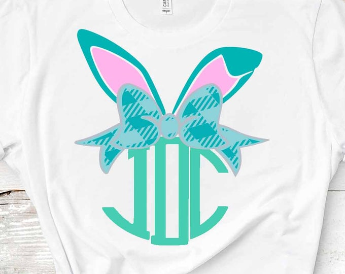 Easter SVG, Plaid Bunny Bow SVG Ears Bow svg Easter monogram Frame SVG Eps Png Dxf, Cricut, Silhouette, Digital image Cut File