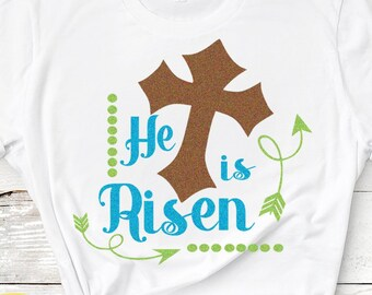 Christian Easter Svg, He is Risen SVG, Christian SVG, Jesus svg,EPS,Dxf,Png. Svg Files for Cricut, Cut files for Silhouette Instant Download