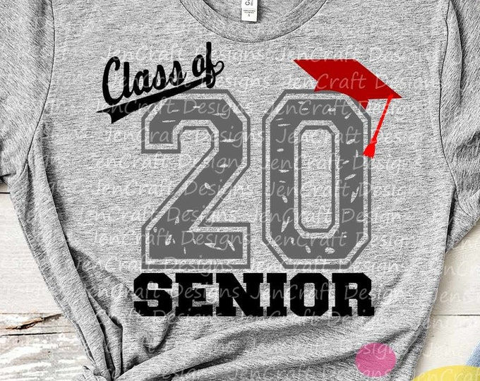 Class of 2020, Graduation SVG, Distressed Senior, High School Graduation Graduate, Graduating Svg Eps Dxf Png Sublimation Silhouette, Cricut