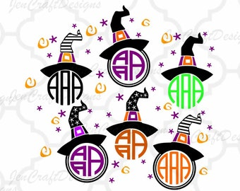Witch Hat SVG Halloween Svg Monogram Frame, Halloween Designs, SVG, EPS, Dxf, Png Files, Vector Art, Cricut Design Space, Silhouette