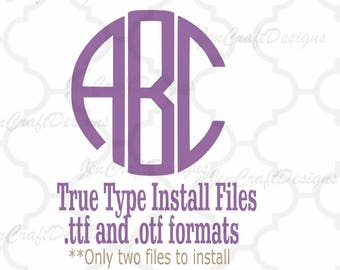 Round Monogram Font in True Type format .TTF & .OTF Installable Font for Cricut, Design Space, Microsoft Word and more