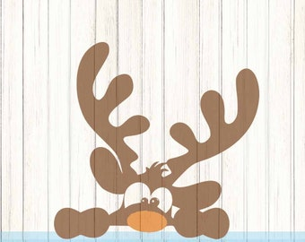 Peeking Christmas Reindeer SVG,EPS Png DXF, Peeping Reindeer digital download files for Silhouette Cricut, vector Clip Art graphics