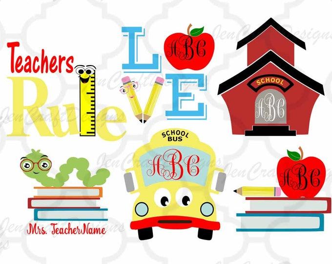 Back to School Monogram SVG Frames Cut Files svg, dxf,Studio3,eps, png Teacher appreciation Bundle Silhouette Cricut Brothers Scan N Cut