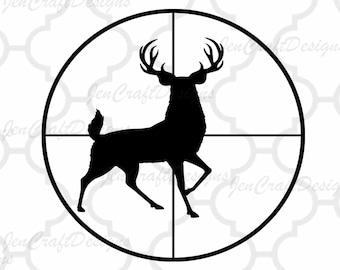 Deer SVG, Buck in Gun sights, Crosshair Cutting File, Hunting Svg, PNG, EPS, Dxf Files, Vector Art, Cricut, Silhouette, Digital Cut Files