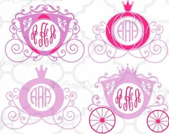 Princess Carriage SVG, Cinderella Carriage SVG,eps,dxf,png Princess Monogram Frame SVG, vector design cricut, silhouette cutting machines