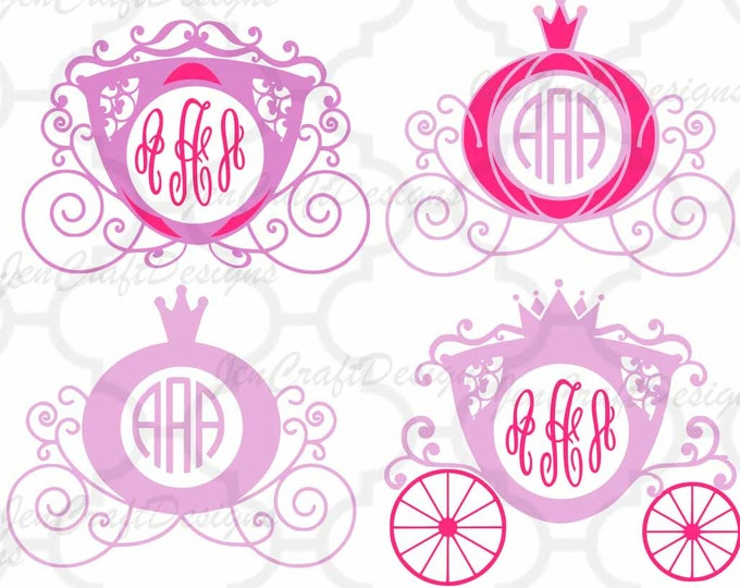 Princess Carriage SVG, Cinderella Carriage SVG,eps,dxf,png Princess Monogram Frame SVG, vector design cricut, silhouette cutting machines