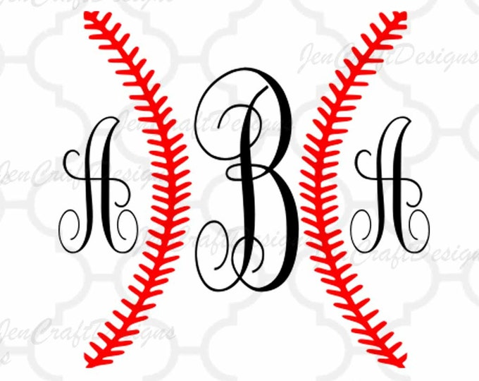 Baseball Ball Stitches SVG cut files, Baseball svg, Dxf, Eps, Png Softball, Monogram Frame svg for use in Silhouette - Cricut Design  Space